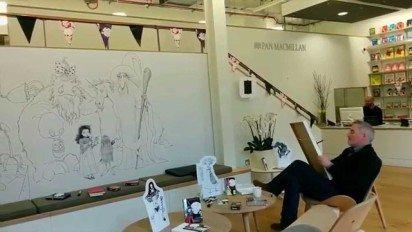 Chris Riddell Decorates the Macmillan Office