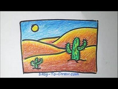 How to draw a cartoon desert step by step