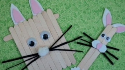 Popsicle Stick Bunnies For Kids